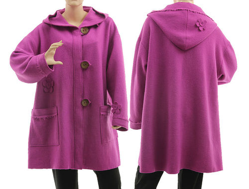 Lagenlook hooded jacket with flowers, merino boiled wool in purple-pink L-XL