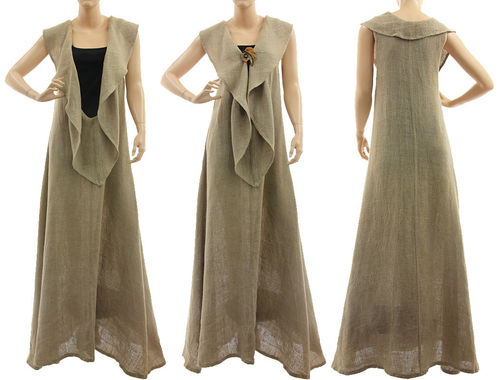 Boho full length linen dress for tall women in natural S