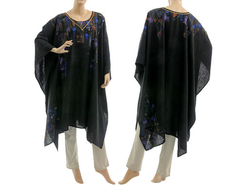 Artsy boho hand painted linen poncho cover cape in black S-XXL