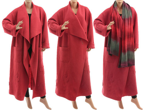 Maxi wrap coat waterfall collar, boiled felted wool in coral red L-XL