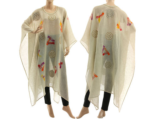 Artsy boho hand painted linen gauze poncho cover caftan in cream S-XXL