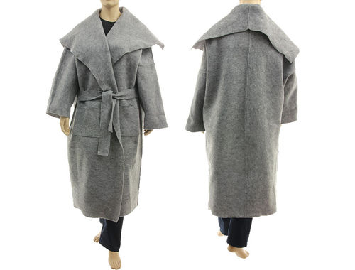 Maxi wrap coat large collar, boiled felted wool in grey XL-XXXL