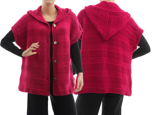 Hand knitted hooded textured sweater cardi Fanny in dark pink M-L