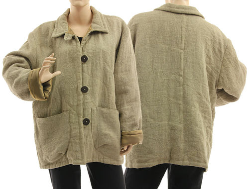 Lagenlook warm linen jacket with huge pockets, in natural L-XL
