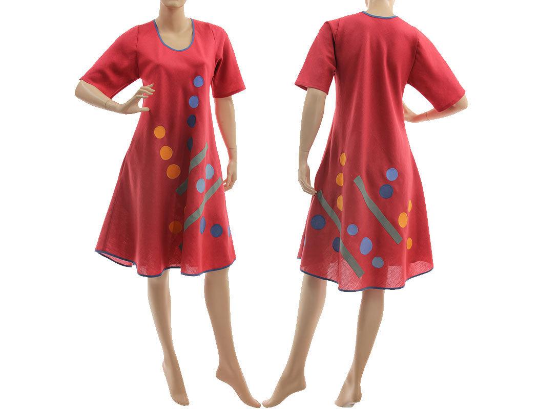 8caa307743f Boho spring summer raspberry red linen dress S-M - CLASSYDRESS