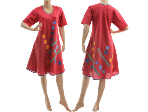Boho spring summer linen dress, side entry pockets, in raspberry red S-M