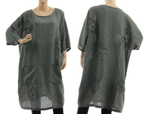 Boho tunic dress with pockets and flowers, linen-cotton gauze in grey M-XL