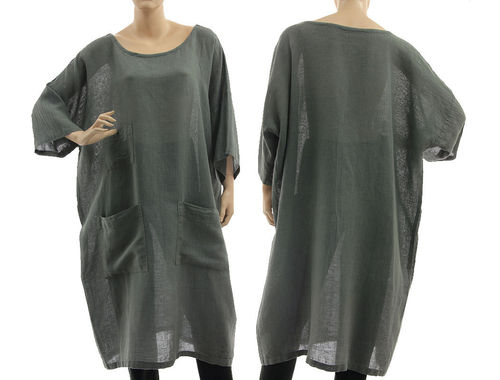 Boho tunic dress with pockets, linen-cotton gauze in grey M-XL