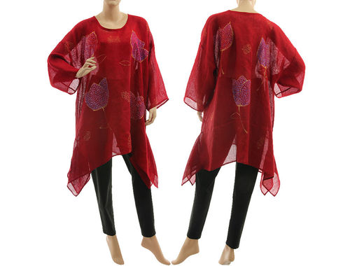 Artsy boho hand painted burgundy linen gauze tunic with flowers M-XL