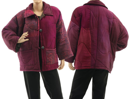 Boho artsy silk coat jacket, patchwork berry shades L-XL