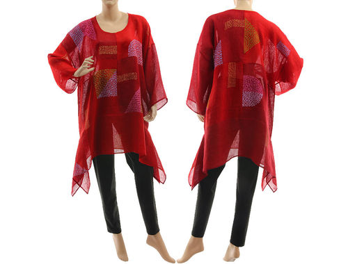 Boho hand painted tunic linen gauze chequerboard in red burgundy  M-XL