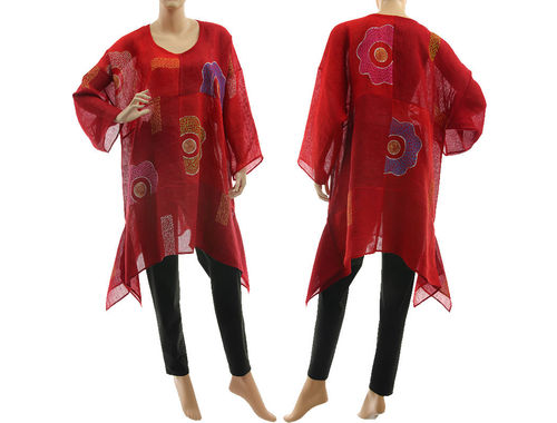 Boho hand painted tunic linen gauze chequerboard and flowers, burgundy red M-XL
