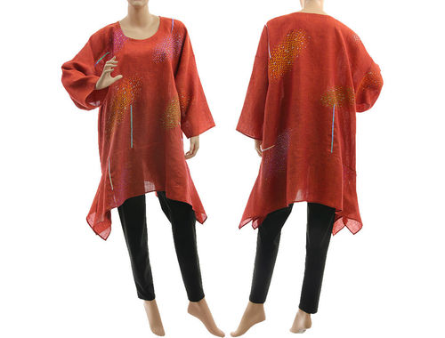Boho hand painted clouds tunic linen gauze in red-orange M-XL