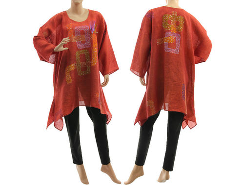 Boho hand painted loops tunic linen gauze in red-orange M-XL