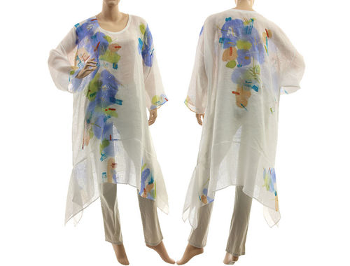 Boho hand painted flower tunic linen gauze in white L-XXL