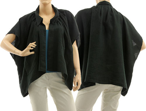 Lagenlook oversized short linen jacket wrap in black S-XL