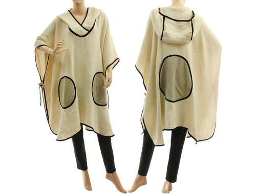 Boho lagenlook hooded linen poncho cover in ecru, off-white S-XXL
