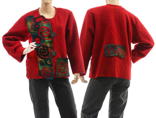 Boho artsy jacket with merino felt, boiled wool in dark red M-L