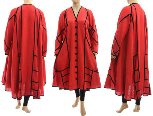 Boho maxi linen coat A-line shape in coral red with black L-XL