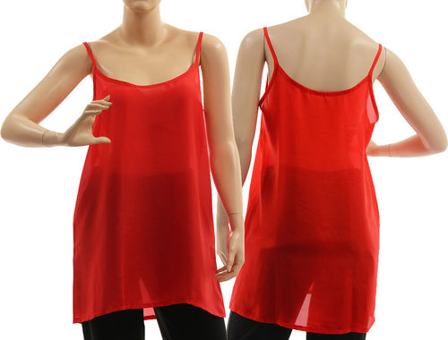 Slip top, strappy tank top, lingerie top, summer top, pure silk in red L-XL