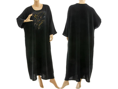 Fall winter maxi party dress hand painted, linen crepe in black L-XXL