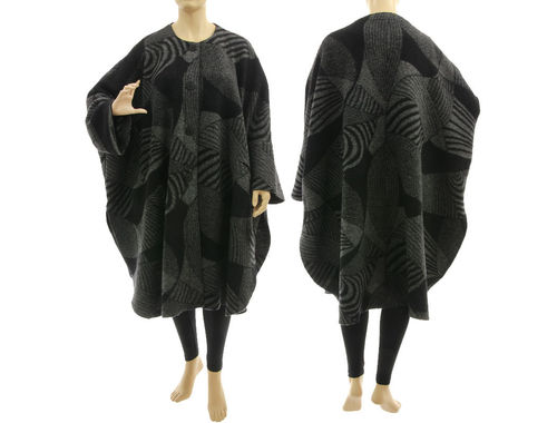 Boho roomy fall winter coat, boiled felted wool in black grey L-XXL