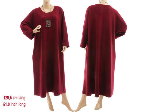 Long puristic fall winter dress fine merino wool in burgundy L-XXL