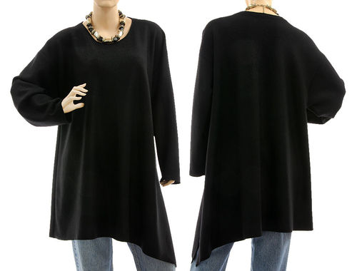 Stylish fall winter tunic sweater fine merino wool in black L-XL