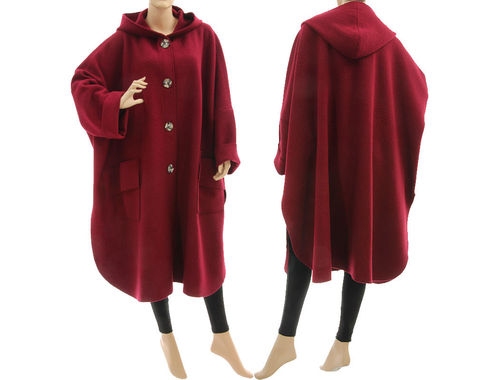 Boho roomy hooded fall winter coat, boiled felted wool in burgundy M-XL