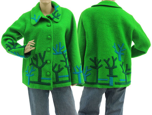 Boho jacket with separate hood, boiled wool in green M-L