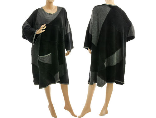 Boho oversized knit sweater dress, soft wool patchwork in black grey L-XXL