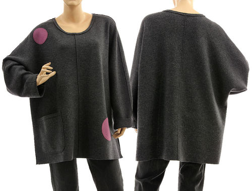 Oversized batwing tunic sweater, boiled felted extra fine merino wool in grey L-XXL
