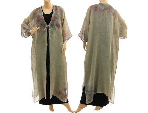 Boho linen gauze maxi coat duster hand painted, in natural L-XXL