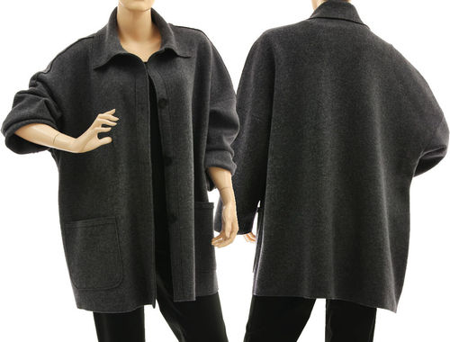 Oversized jacket with collar, boiled felted extra fine merino wool in grey L-XL