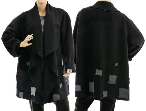 Lagenlook wrap jacket waterfall collar, boiled felted merino wool in black L-XXL