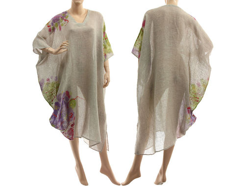 Boho balloon hand painted linen dress in natural S-XL