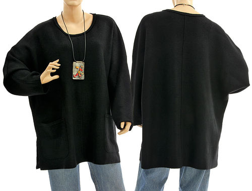 Oversized batwing tunic sweater with pockets, extra fine merino wool in black L-XXL