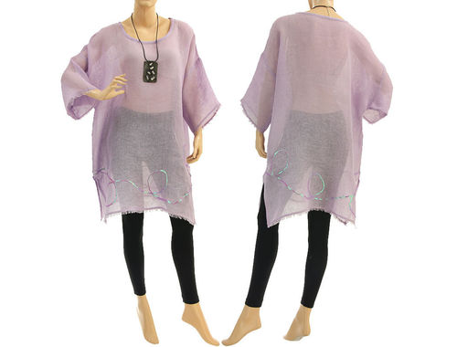 Boho summer tunic, beach dress with sequins, linen gauze in lilac S-XL