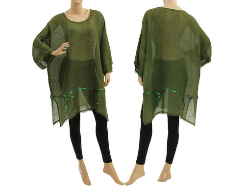 Boho summer tunic, beach dress with sequins, linen in olive M-XXL