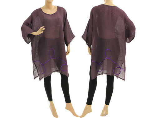 Boho summer tunic, beach dress with sequins, linen in purple S-XL