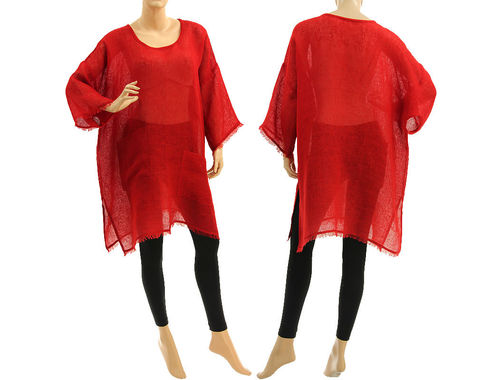 Boho summer tunic, beach dress with pockets, linen gauze in red S-XL