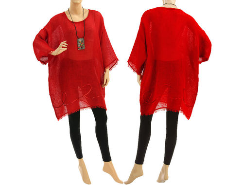 Boho summer tunic, beach dress with sequins, linen gauze in red S-XL