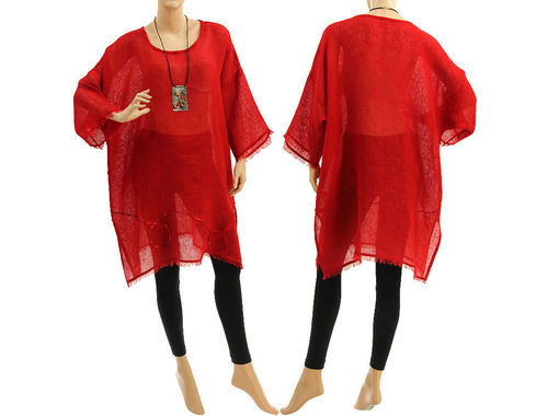 Boho summer linen tunic, beach dress with sequins and fringes in red S-XL
