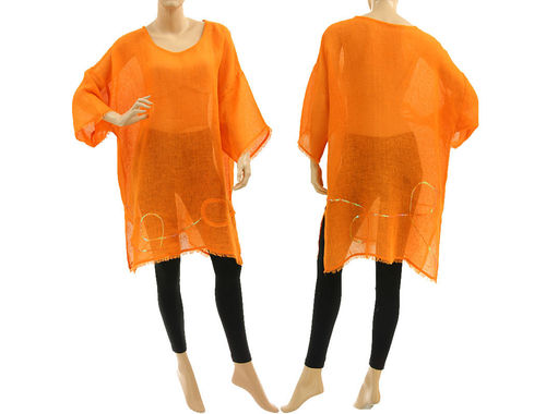 Boho summer linen tunic, beach dress with sequins and fringes in orange S-XL