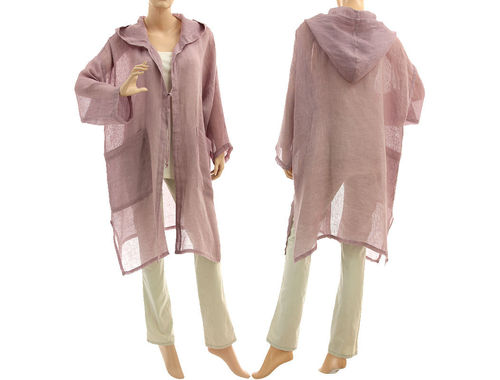 Lagenlook linen gauze hooded jacket duster, in mauve S-XL