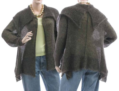 Knitted mohair A-line sweater cardi wrap Malika in goldgrey S-M