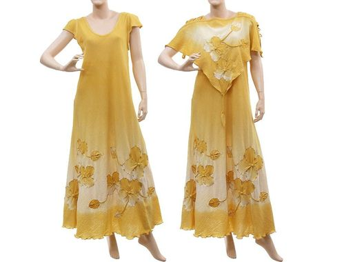Boho flower dress with top, crinkle cotton in yellow S-L