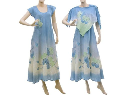 Boho flower dress with top, crinkle cotton in blue S-L