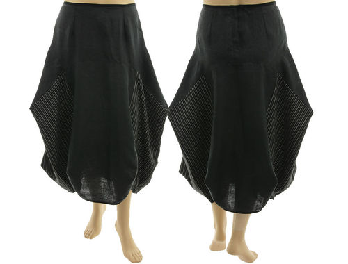 Lagenlook linen balloon parachute skirt with stripes, in black XL
