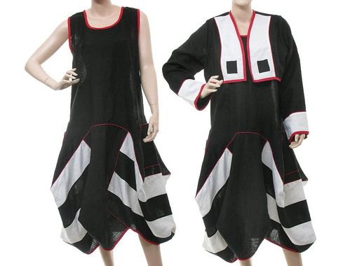Lagenlook baloon dress + short jacket, linen in black white red S-M